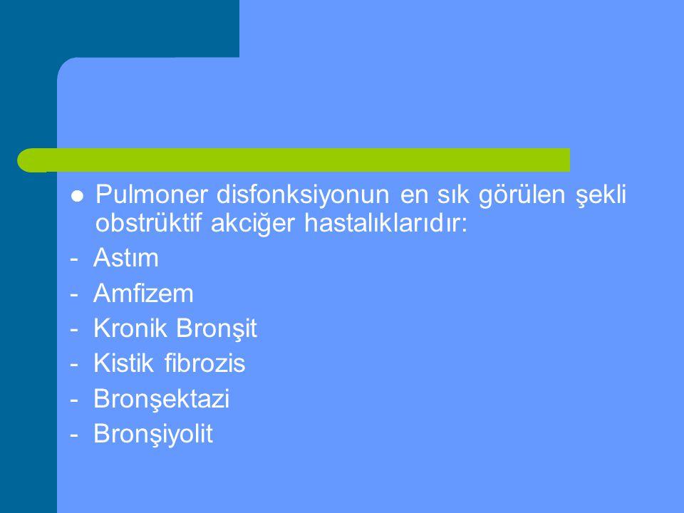 Pulmoner disfonksiyonun en sık görülen şekli obstrüktif akciğer hastalıklarıdır: