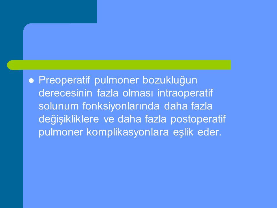 Preoperatif pulmoner bozukluğun derecesinin fazla olması intraoperatif solunum fonksiyonlarında daha fazla değişikliklere ve daha fazla postoperatif pulmoner komplikasyonlara eşlik eder.