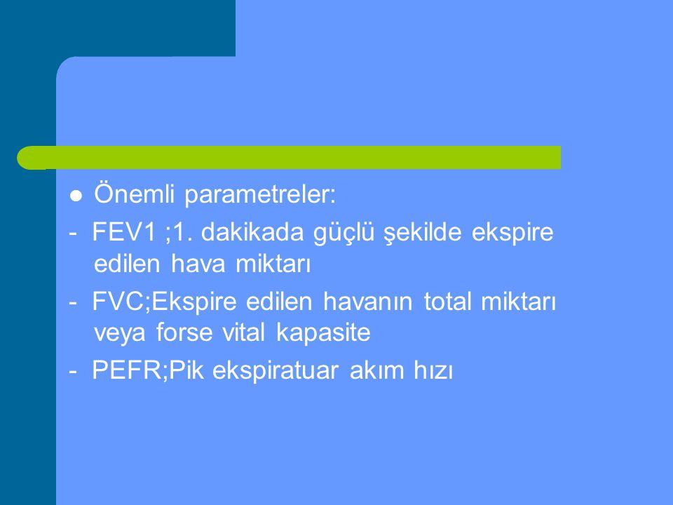 Önemli parametreler: - FEV1 ;1. dakikada güçlü şekilde ekspire edilen hava miktarı.
