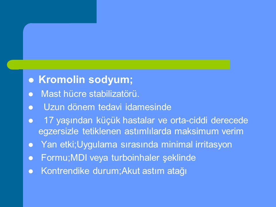 Kromolin sodyum; Mast hücre stabilizatörü.