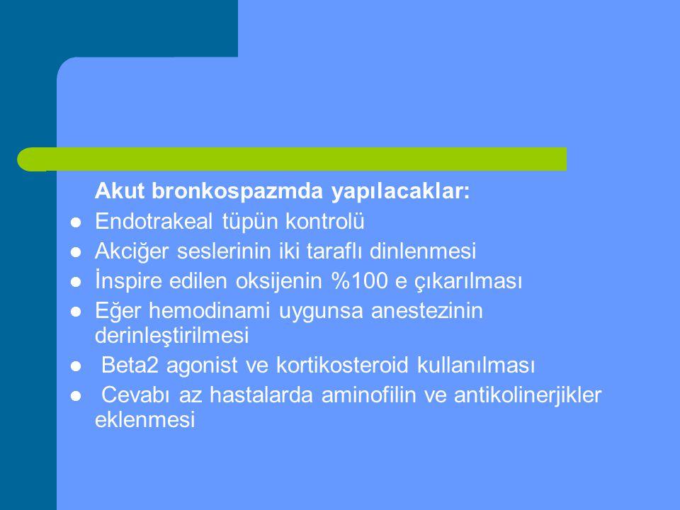 Akut bronkospazmda yapılacaklar: