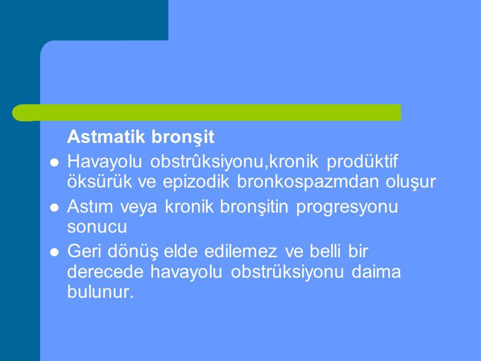 Astmatik bronşit Havayolu obstrûksiyonu,kronik prodüktif öksürük ve epizodik bronkospazmdan oluşur.