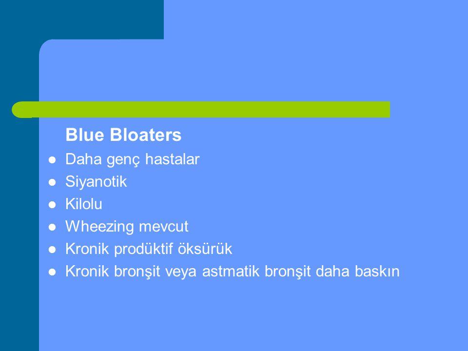 Blue Bloaters Daha genç hastalar. Siyanotik. Kilolu. Wheezing mevcut. Kronik prodüktif öksürük.