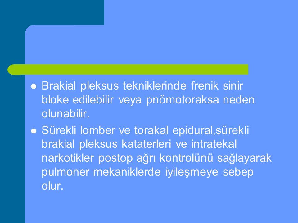 Brakial pleksus tekniklerinde frenik sinir bloke edilebilir veya pnömotoraksa neden olunabilir.