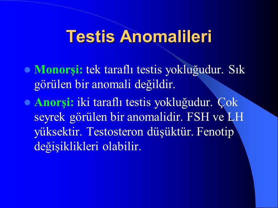 Testis Anomalileri Monorşi: tek taraflı testis yokluğudur. Sık görülen bir anomali değildir.