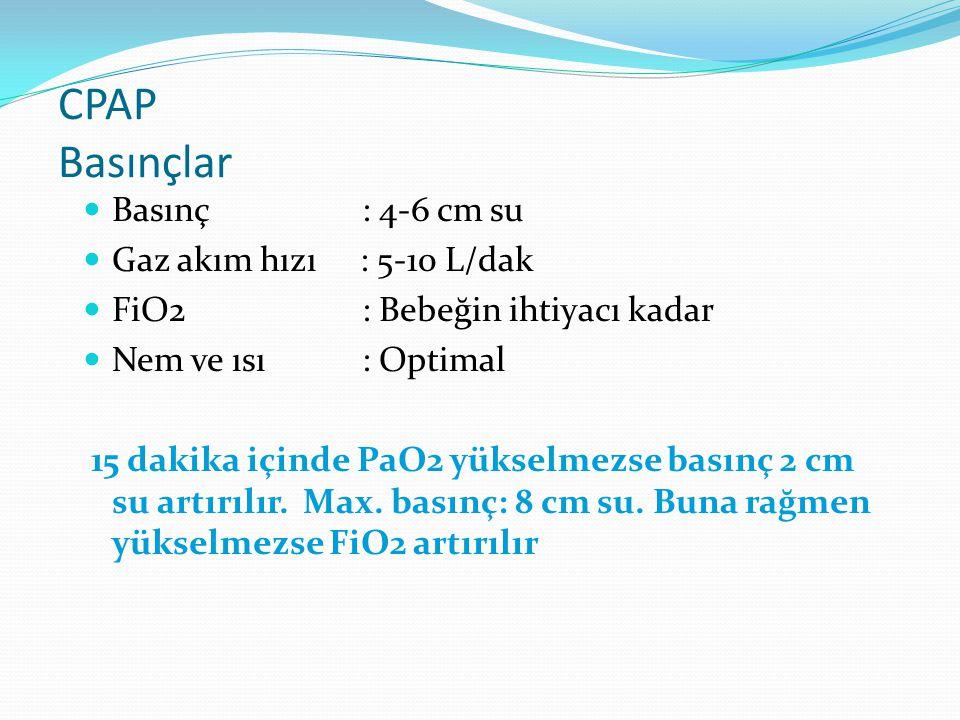 CPAP Basınçlar Basınç : 4-6 cm su Gaz akım hızı : 5-10 L/dak