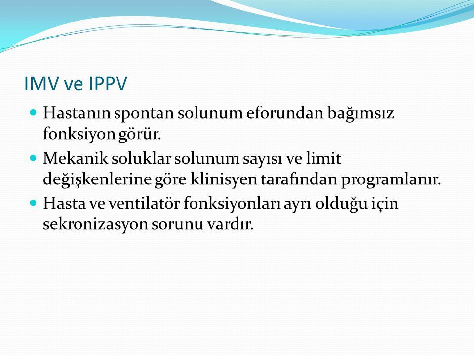 IMV ve IPPV Hastanın spontan solunum eforundan bağımsız fonksiyon görür.