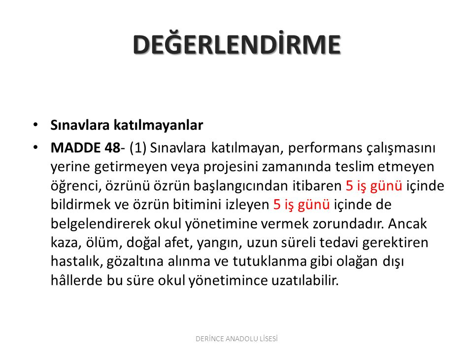 DERİNCE ANADOLU LİSESİ