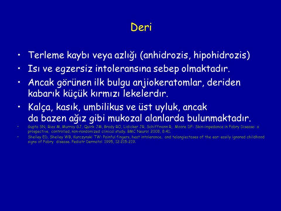 Deri Terleme kaybı veya azlığı (anhidrozis, hipohidrozis)