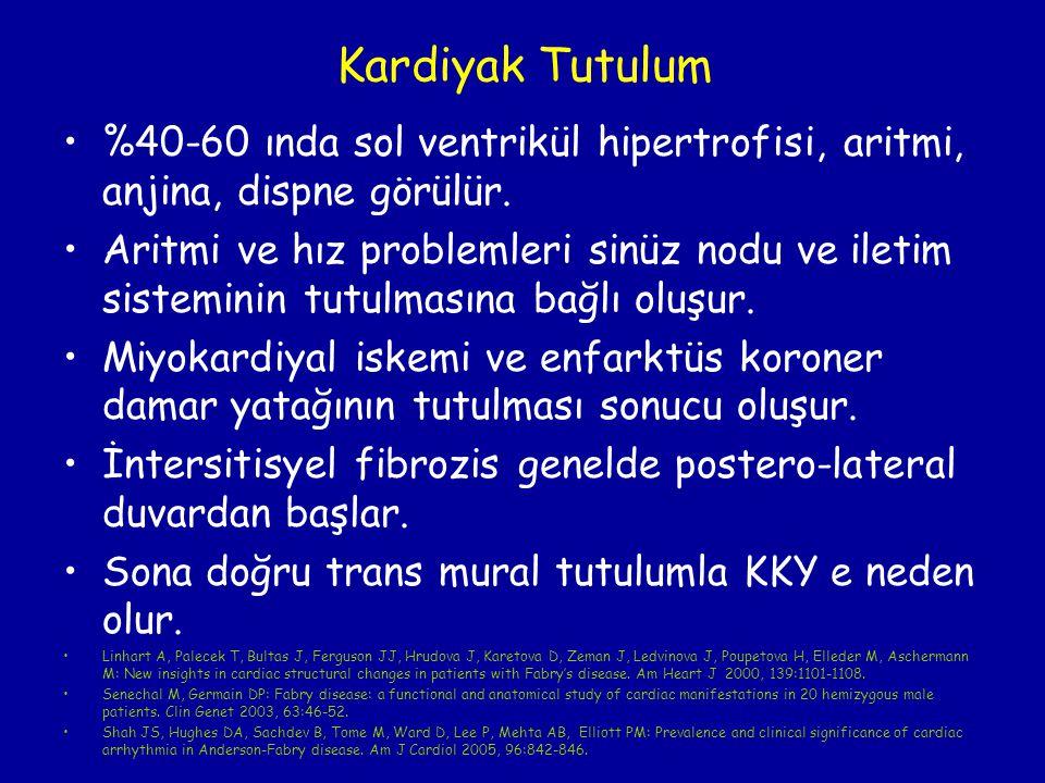Kardiyak Tutulum %40-60 ında sol ventrikül hipertrofisi, aritmi, anjina, dispne görülür.