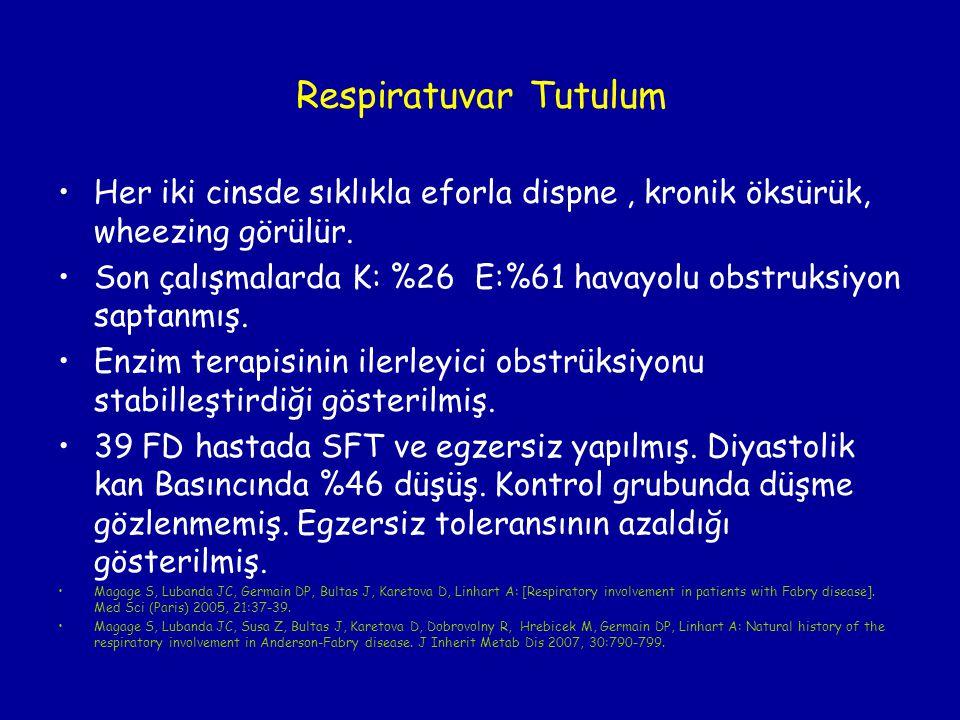 Respiratuvar Tutulum Her iki cinsde sıklıkla eforla dispne , kronik öksürük, wheezing görülür.