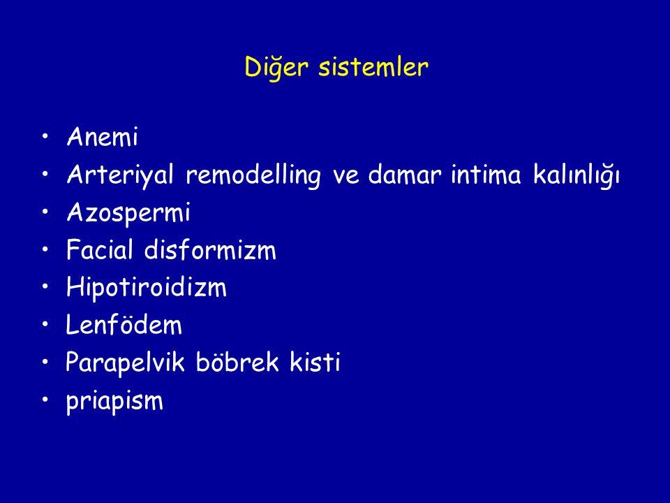 Diğer sistemler Anemi. Arteriyal remodelling ve damar intima kalınlığı. Azospermi. Facial disformizm.