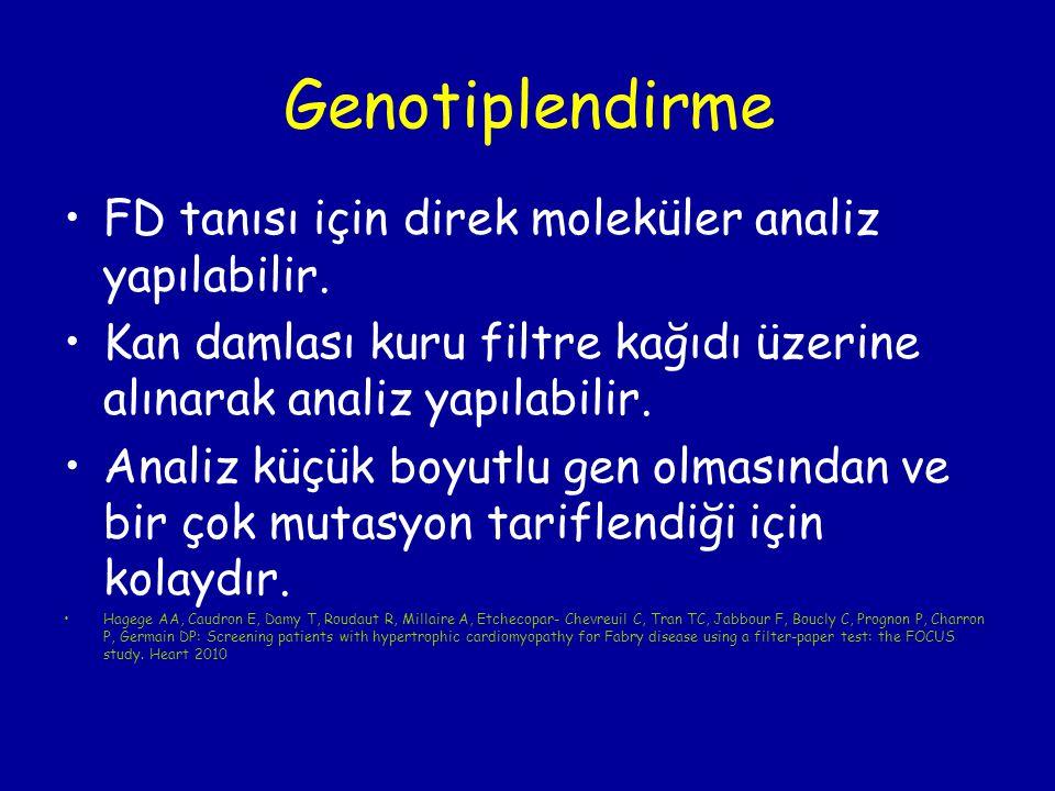 Genotiplendirme FD tanısı için direk moleküler analiz yapılabilir.