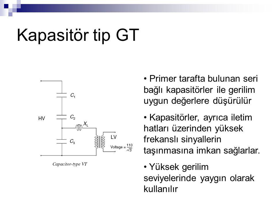 Kapasitör tip GT Primer tarafta bulunan seri bağlı kapasitörler ile gerilim uygun değerlere düşürülür.