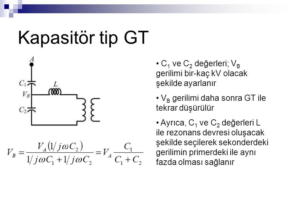 Kapasitör tip GT C1 ve C2 değerleri; VB gerilimi bir-kaç kV olacak şekilde ayarlanır. VB gerilimi daha sonra GT ile tekrar düşürülür.