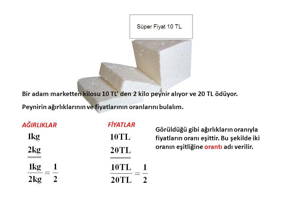 Bir adam marketten kilosu 10 TL' den 2 kilo peynir alıyor ve 20 TL ödüyor.