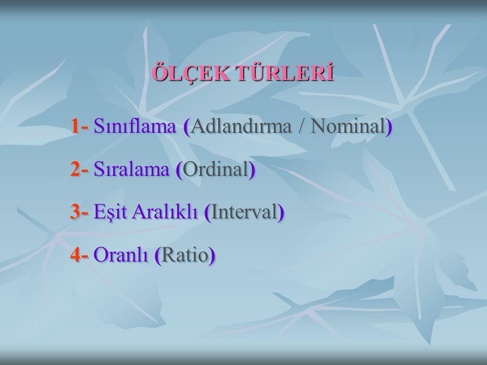 ÖLÇEK TÜRLERİ 1- Sınıflama (Adlandırma / Nominal) 2- Sıralama (Ordinal) 3- Eşit Aralıklı (Interval)