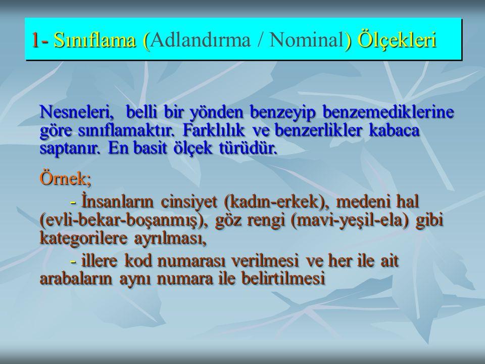 1- Sınıflama (Adlandırma / Nominal) Ölçekleri