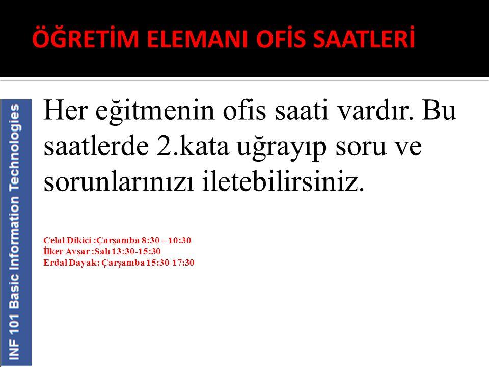 ÖĞRETİM ELEMANI OFİS SAATLERİ