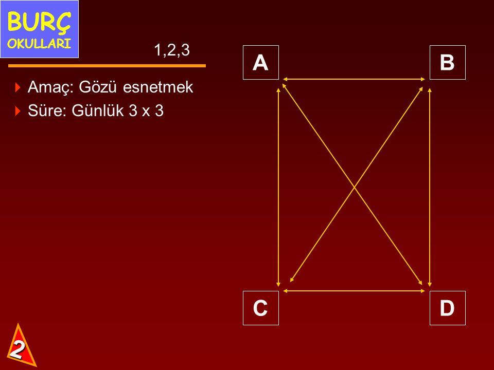 BURÇ OKULLARI 1,2,3 A B C D Amaç: Gözü esnetmek Süre: Günlük 3 x 3 2