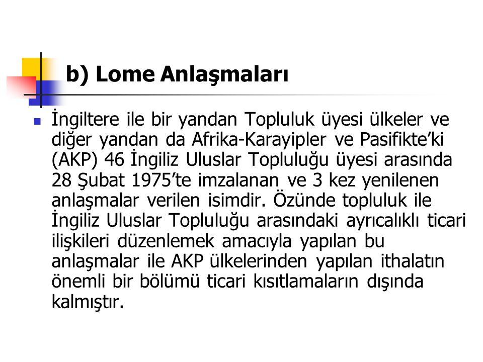b) Lome Anlaşmaları