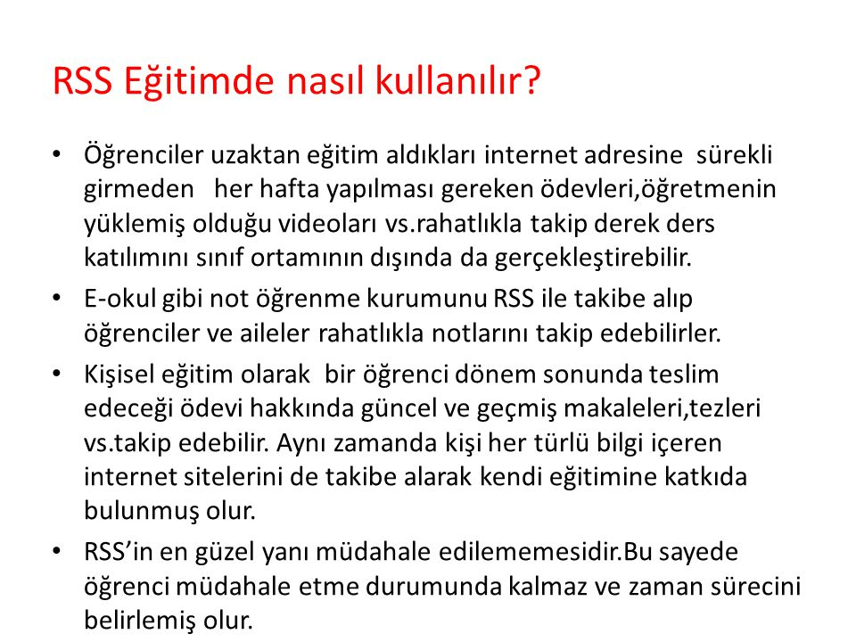 RSS Eğitimde nasıl kullanılır
