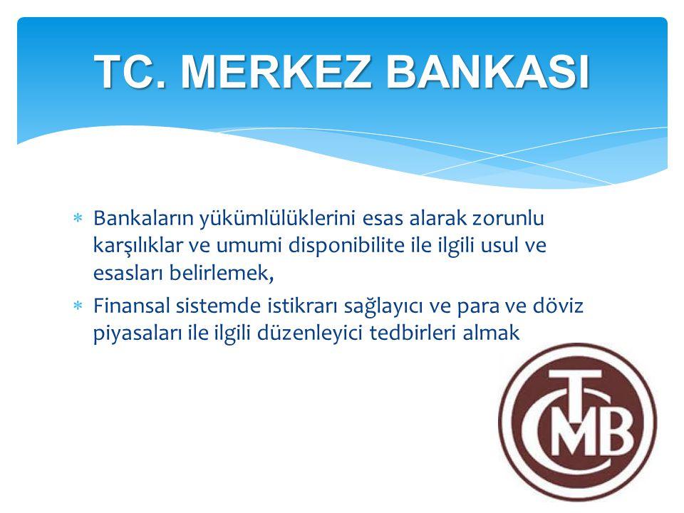 TC. MERKEZ BANKASI Bankaların yükümlülüklerini esas alarak zorunlu karşılıklar ve umumi disponibilite ile ilgili usul ve esasları belirlemek,