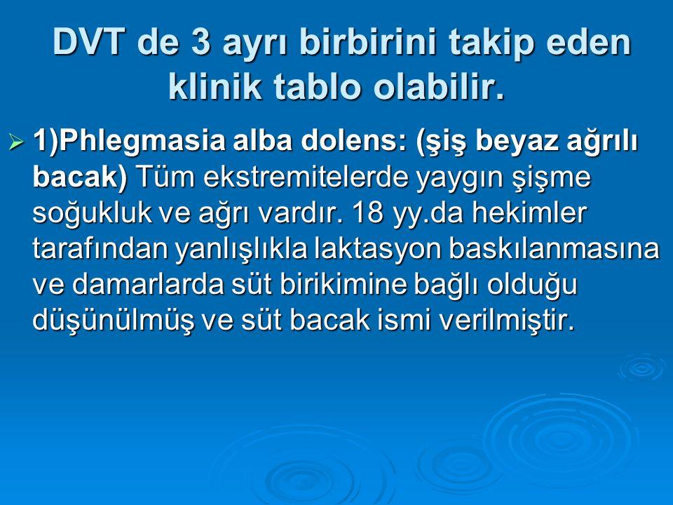 DVT de 3 ayrı birbirini takip eden klinik tablo olabilir.