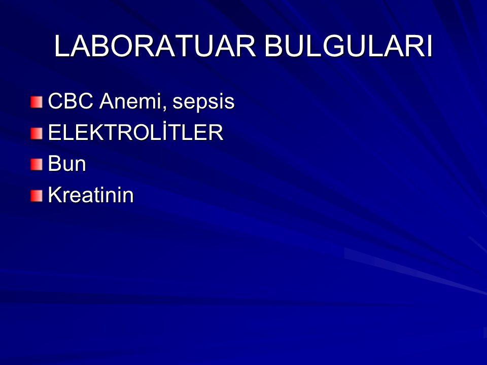 LABORATUAR BULGULARI CBC Anemi, sepsis ELEKTROLİTLER Bun Kreatinin