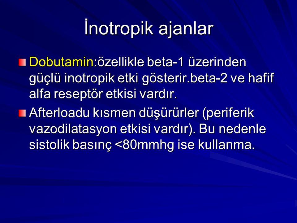 İnotropik ajanlar Dobutamin:özellikle beta-1 üzerinden güçlü inotropik etki gösterir.beta-2 ve hafif alfa reseptör etkisi vardır.