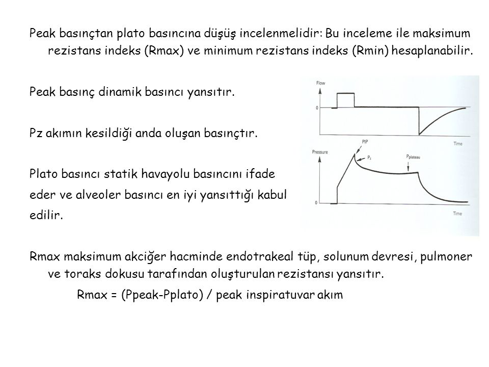 Peak basınçtan plato basıncına düşüş incelenmelidir: Bu inceleme ile maksimum rezistans indeks (Rmax) ve minimum rezistans indeks (Rmin) hesaplanabilir.