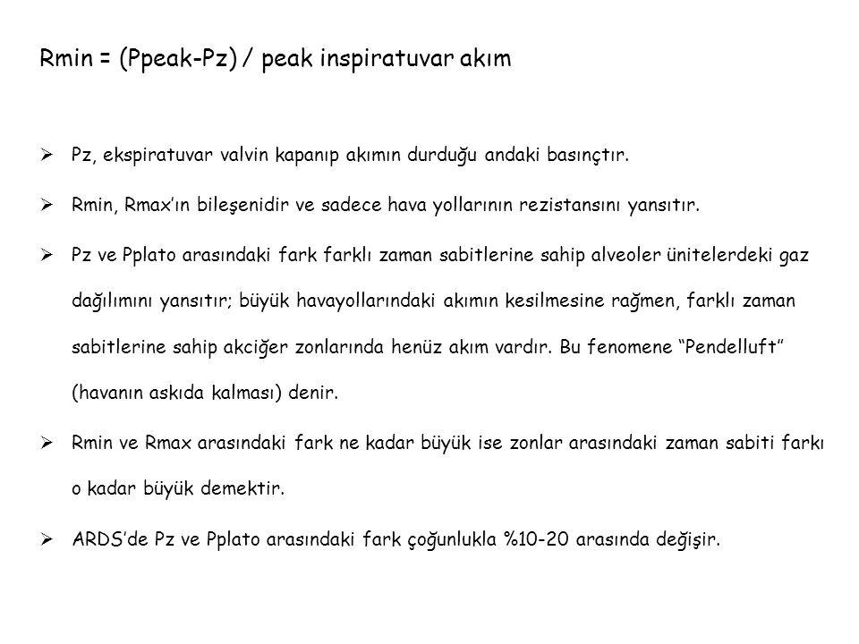 Rmin = (Ppeak-Pz) / peak inspiratuvar akım