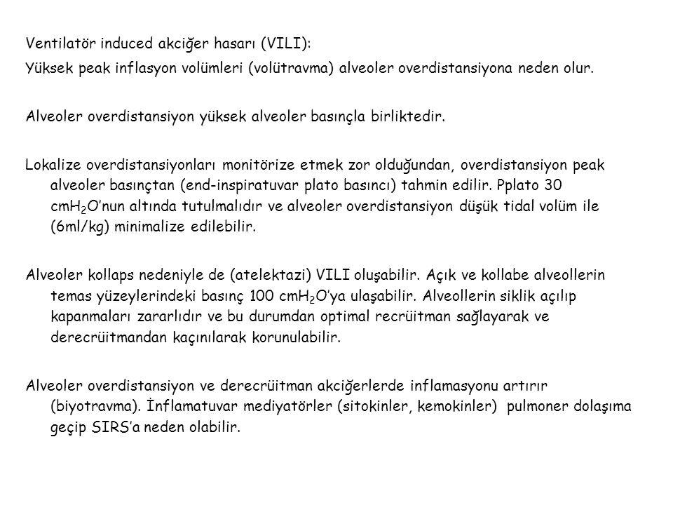 Ventilatör induced akciğer hasarı (VILI):