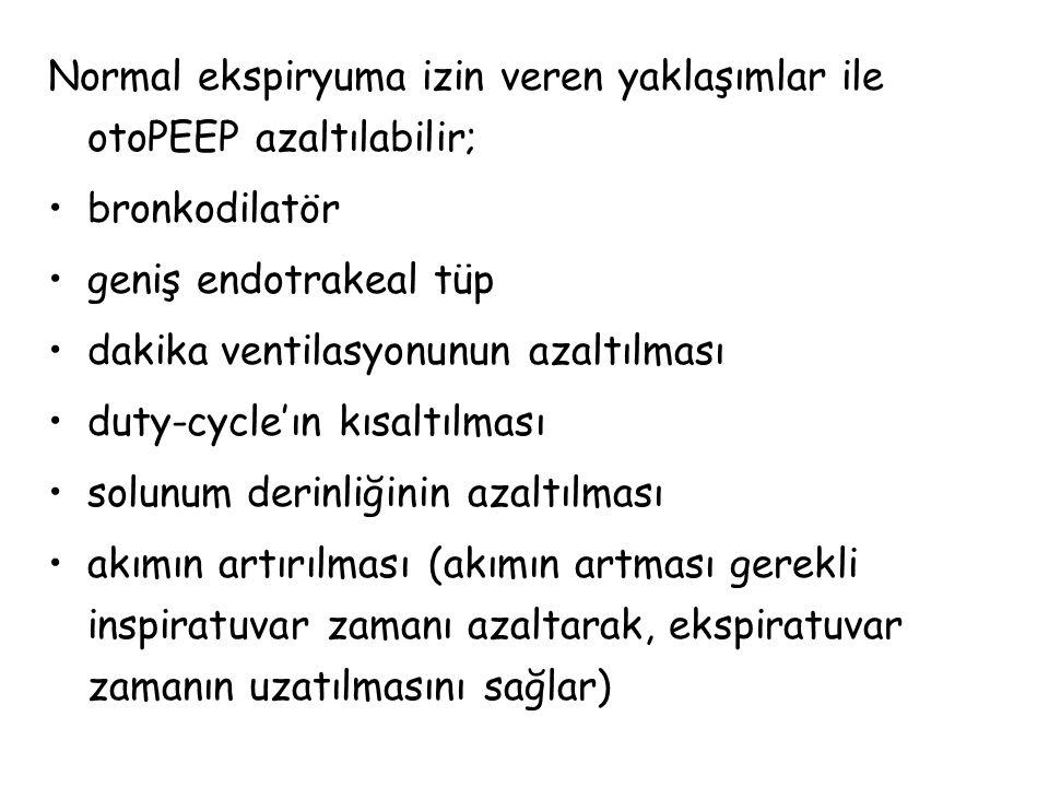 Normal ekspiryuma izin veren yaklaşımlar ile otoPEEP azaltılabilir;