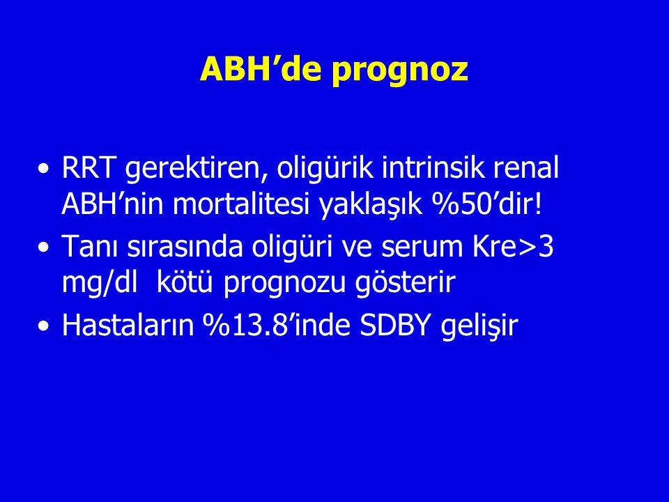 ABH'de prognoz RRT gerektiren, oligürik intrinsik renal ABH'nin mortalitesi yaklaşık %50'dir!