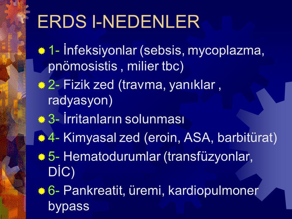 ERDS I-NEDENLER 1- İnfeksiyonlar (sebsis, mycoplazma, pnömosistis , milier tbc) 2- Fizik zed (travma, yanıklar , radyasyon)