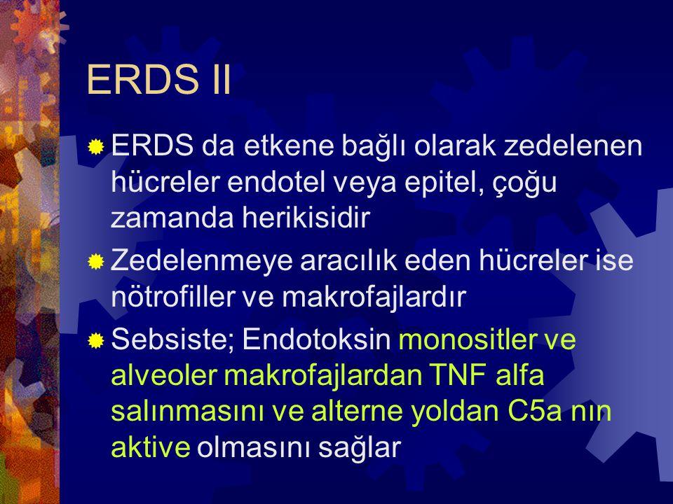 ERDS II ERDS da etkene bağlı olarak zedelenen hücreler endotel veya epitel, çoğu zamanda herikisidir.