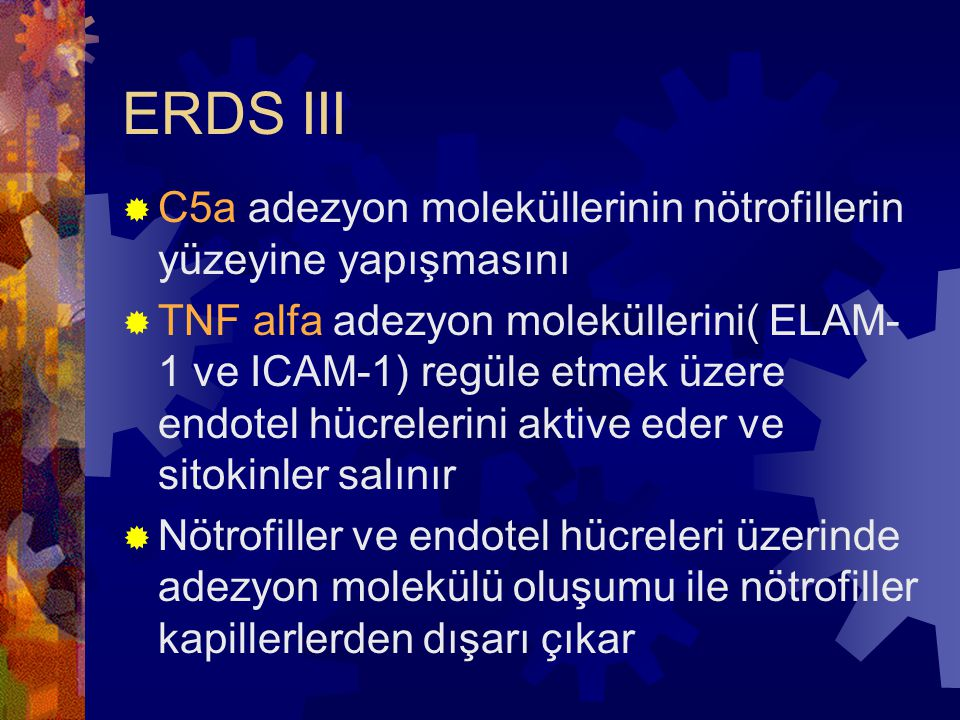 ERDS III C5a adezyon moleküllerinin nötrofillerin yüzeyine yapışmasını