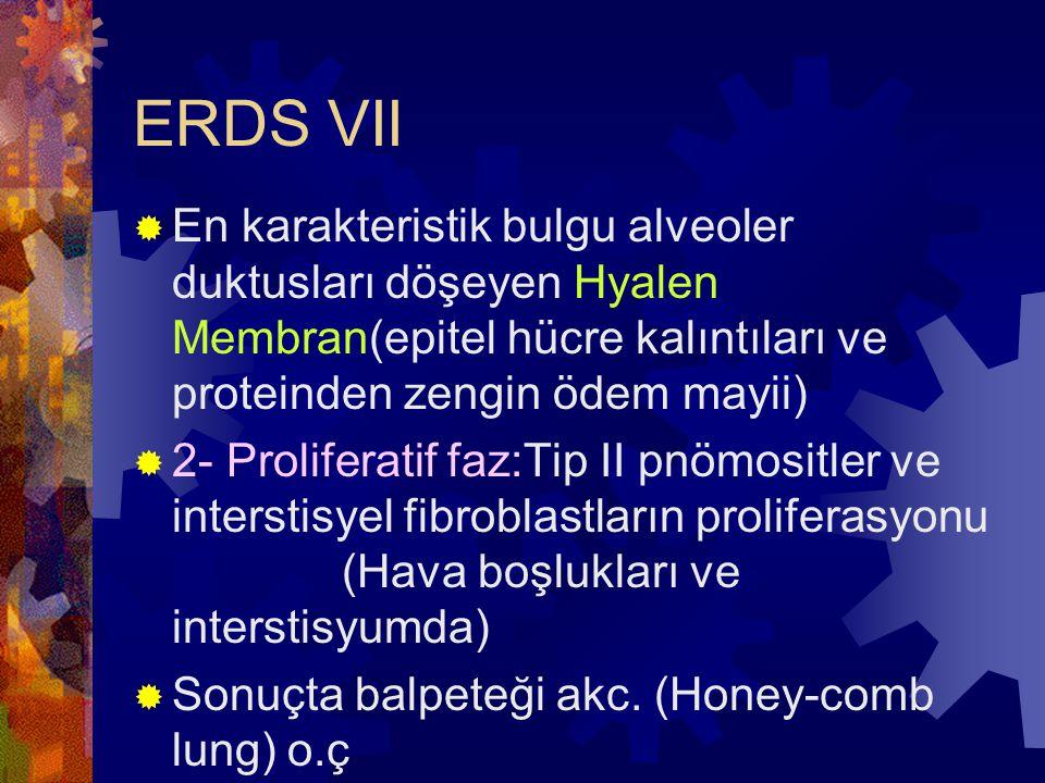 ERDS VII En karakteristik bulgu alveoler duktusları döşeyen Hyalen Membran(epitel hücre kalıntıları ve proteinden zengin ödem mayii)