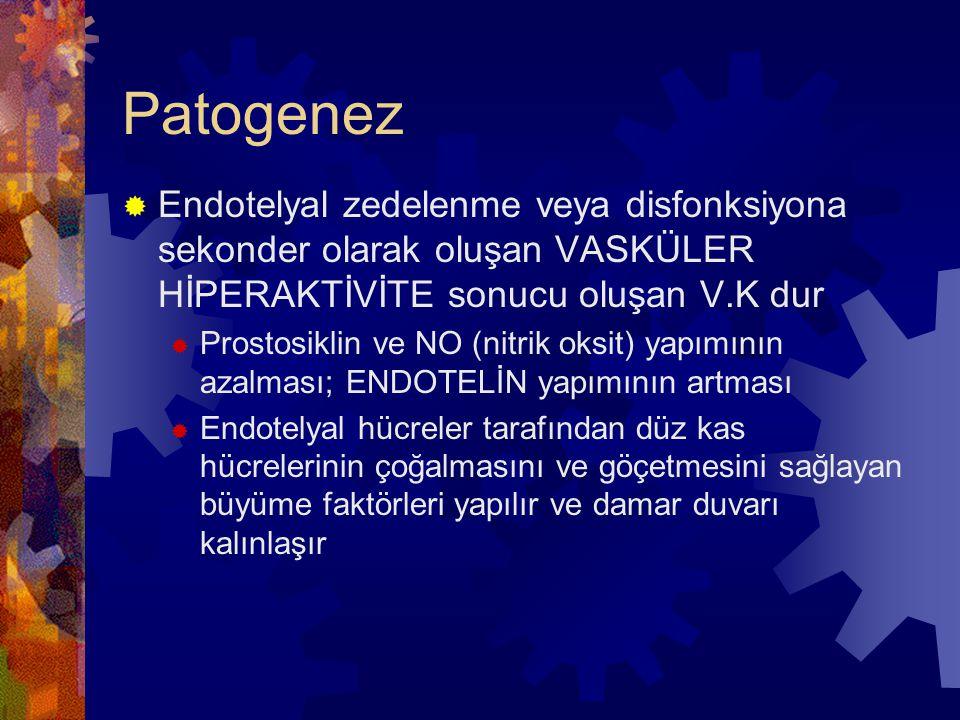 Patogenez Endotelyal zedelenme veya disfonksiyona sekonder olarak oluşan VASKÜLER HİPERAKTİVİTE sonucu oluşan V.K dur.