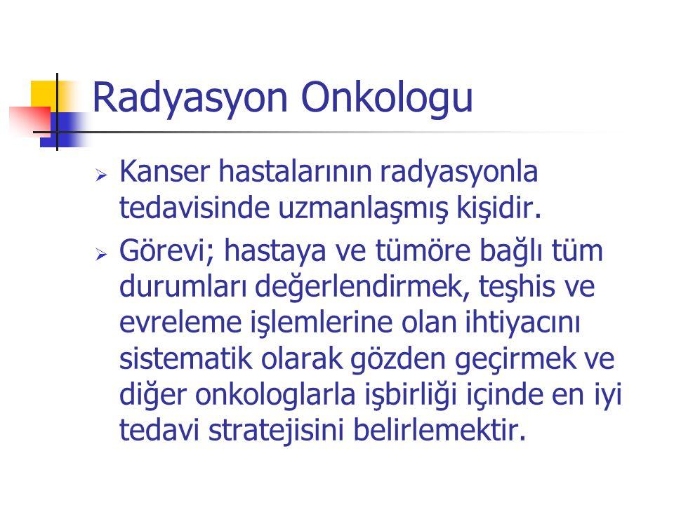 Radyasyon Onkologu Kanser hastalarının radyasyonla tedavisinde uzmanlaşmış kişidir.