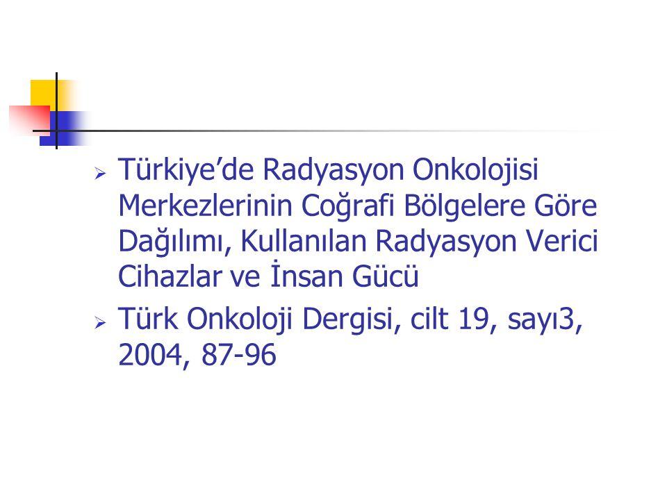 Türkiye'de Radyasyon Onkolojisi Merkezlerinin Coğrafi Bölgelere Göre Dağılımı, Kullanılan Radyasyon Verici Cihazlar ve İnsan Gücü