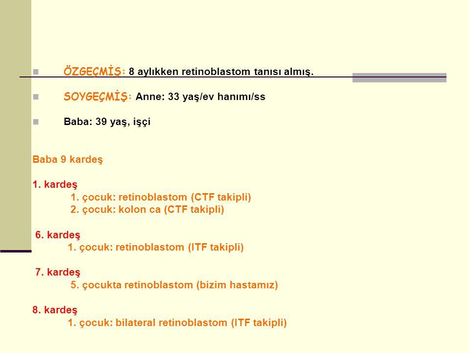 ÖZGEÇMİŞ: 8 aylıkken retinoblastom tanısı almış.