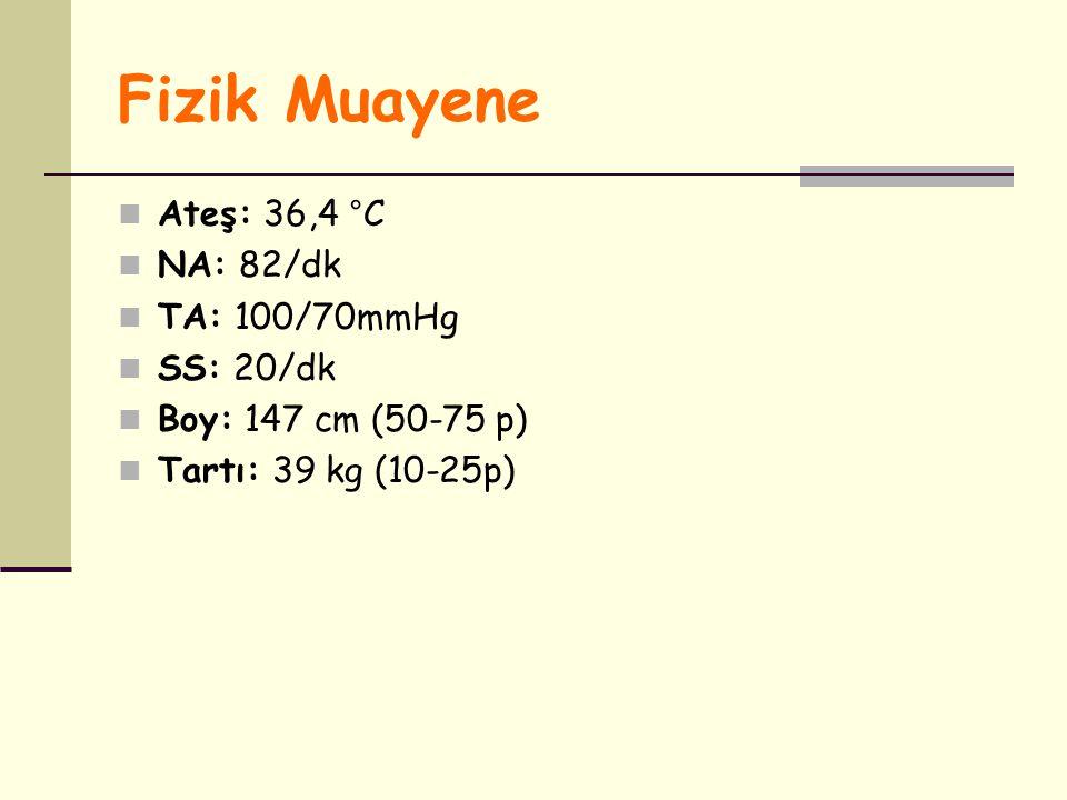 Fizik Muayene Ateş: 36,4 °C NA: 82/dk TA: 100/70mmHg SS: 20/dk