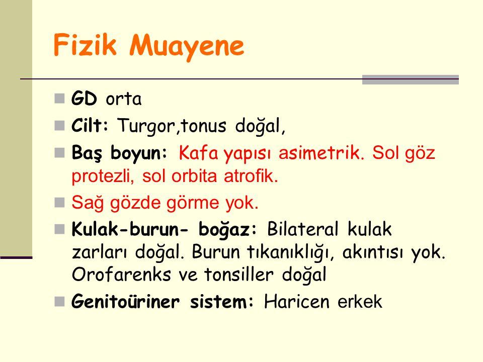 Fizik Muayene GD orta Cilt: Turgor,tonus doğal,