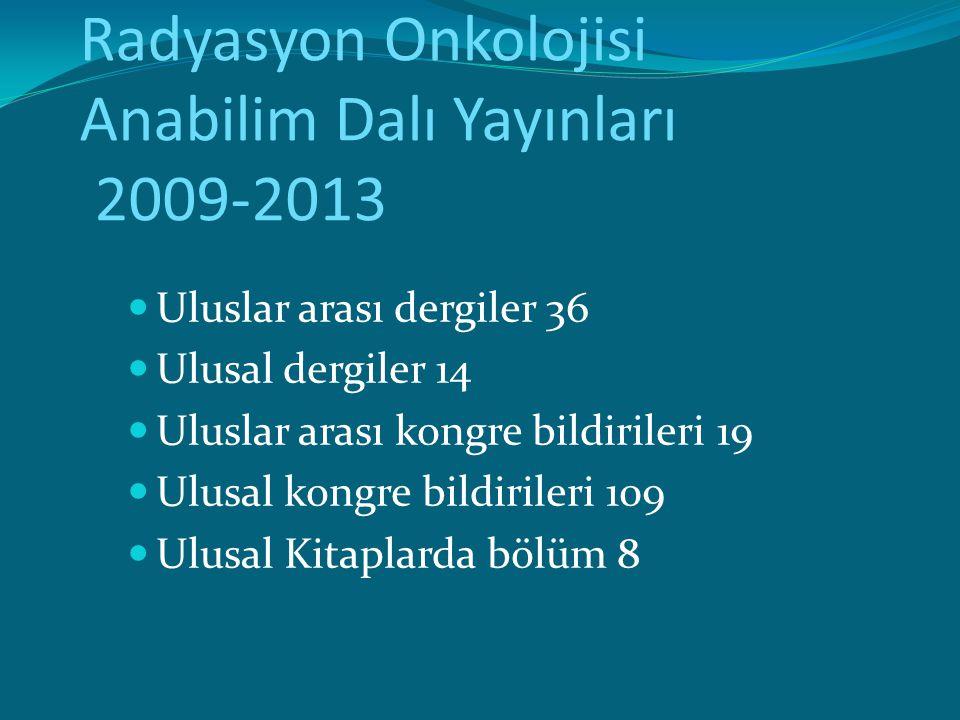 Radyasyon Onkolojisi Anabilim Dalı Yayınları 2009-2013