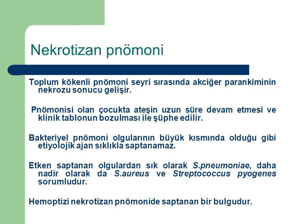 Nekrotizan pnömoni Toplum kökenli pnömoni seyri sırasında akciğer parankiminin nekrozu sonucu gelişir.