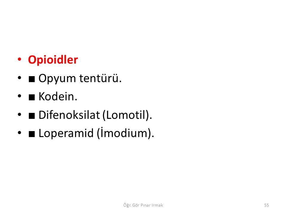 ■ Difenoksilat (Lomotil). ■ Loperamid (İmodium).