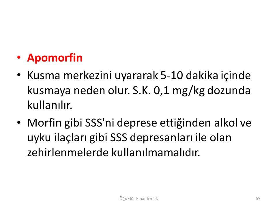 Apomorfin Kusma merkezini uyararak 5-10 dakika içinde kusmaya neden olur. S.K. 0,1 mg/kg dozunda kullanılır.
