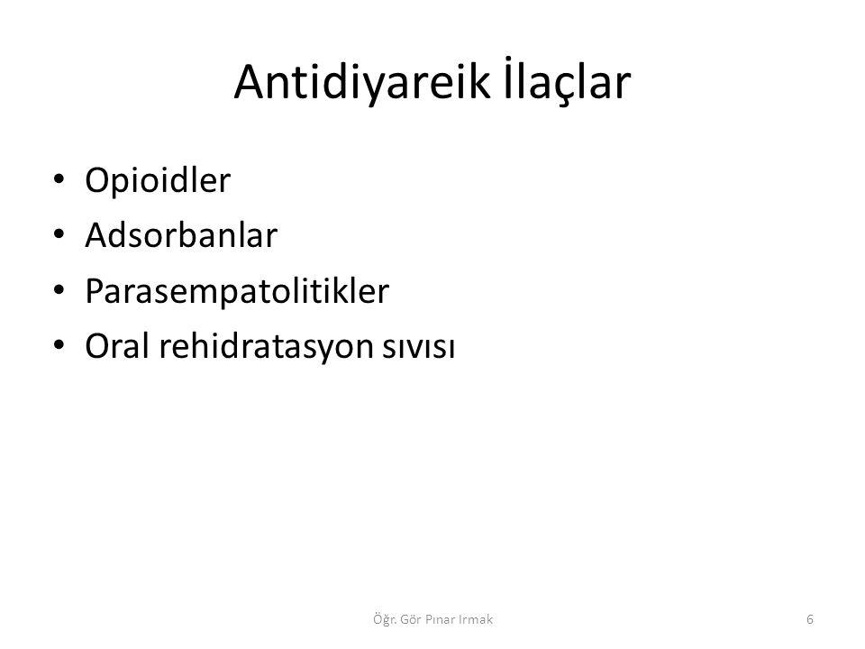 Antidiyareik İlaçlar Opioidler Adsorbanlar Parasempatolitikler